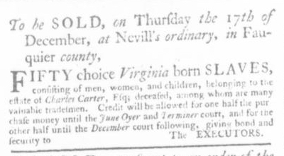 Dec 3 - Virginia Gazette Slavery 5
