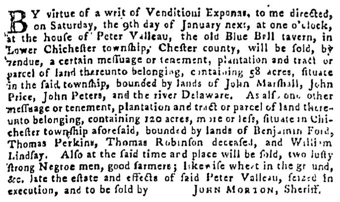 Dec 31 - Pennsylvania Gazette Supplement Slavery 1