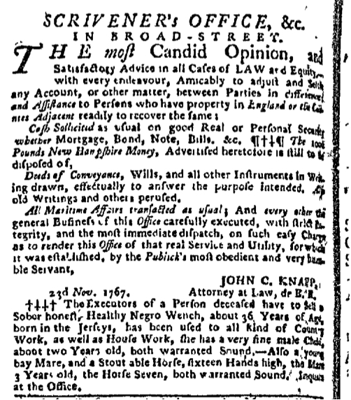 Dec 7 - New-York Gazette Slavery 3