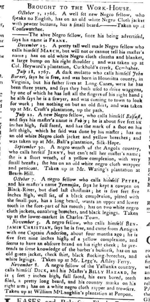 Dec 8 - South-Carolina Gazette and Country Journal Supplement Slavery 8