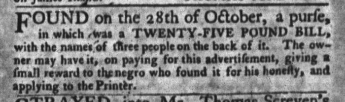 Nov 10 - South-Carolina Gazette and Country Journal Slavery 14