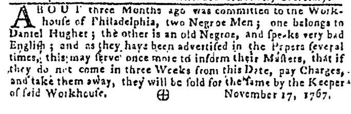 Nov 19 - Pennsylvania Gazette Slavery 1