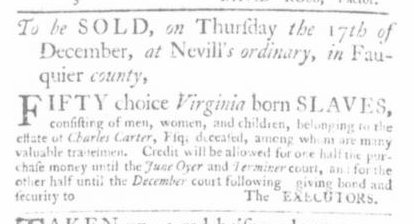 Nov 19 - Virginia Gazette Slavery 1