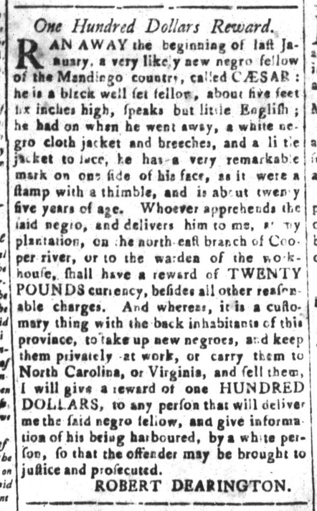 Nov 20 - South-Carolina and American General Gazette Slavery 8