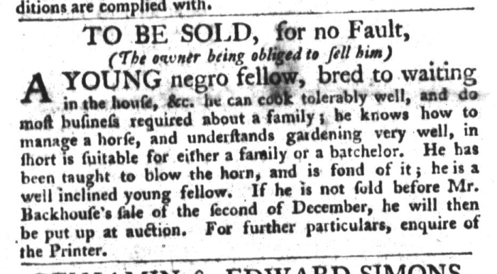 Nov 24 - South-Carolina Gazette and Country Journal Slavery 11