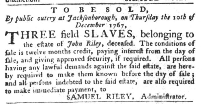 Nov 24 - South-Carolina Gazette and Country Journal Slavery 3