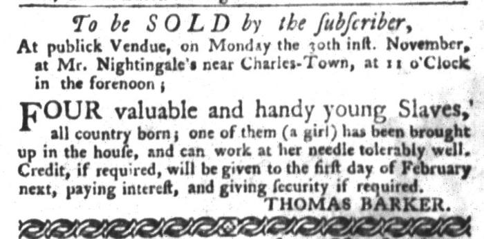 Nov 24 - South-Carolina Gazette and Country Journal Slavery 9