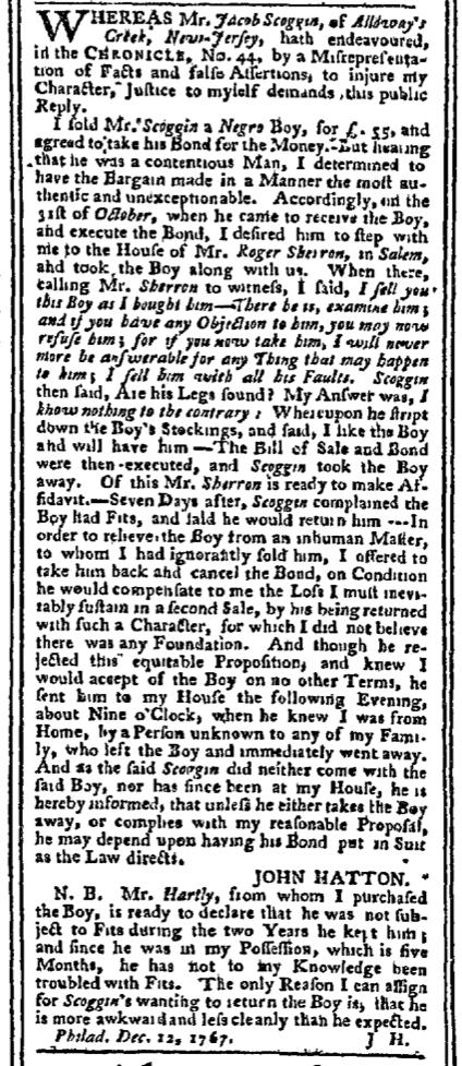 Dec 14 - Pennsylvania Chronicle Slavery 2