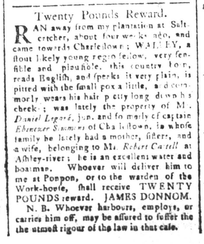 Jan 1 - South-Carolina and American General Gazette Slavery 4