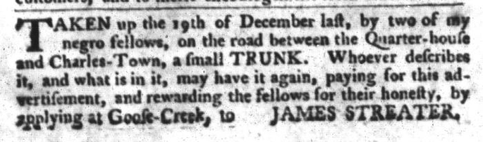 Feb 2 - South-Carolina Gazette and Country Journal Slavery 10