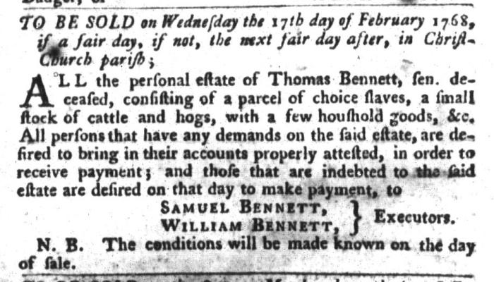 Feb 2 - South-Carolina Gazette and Country Journal Slavery 11