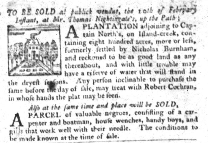 Feb 2 - South-Carolina Gazette and Country Journal Slavery 4