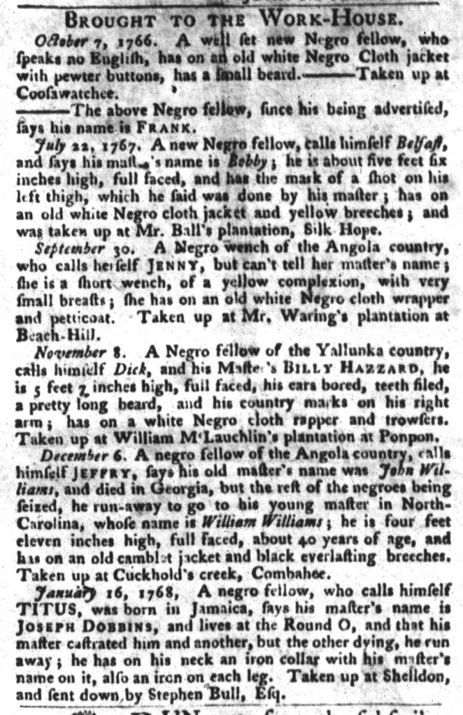 Feb 2 - South-Carolina Gazette and Country Journal Supplement Slavery 1