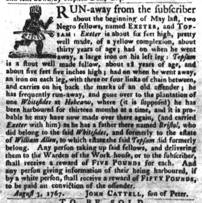 Feb 2 - South-Carolina Gazette and Country Journal Supplement Slavery 2