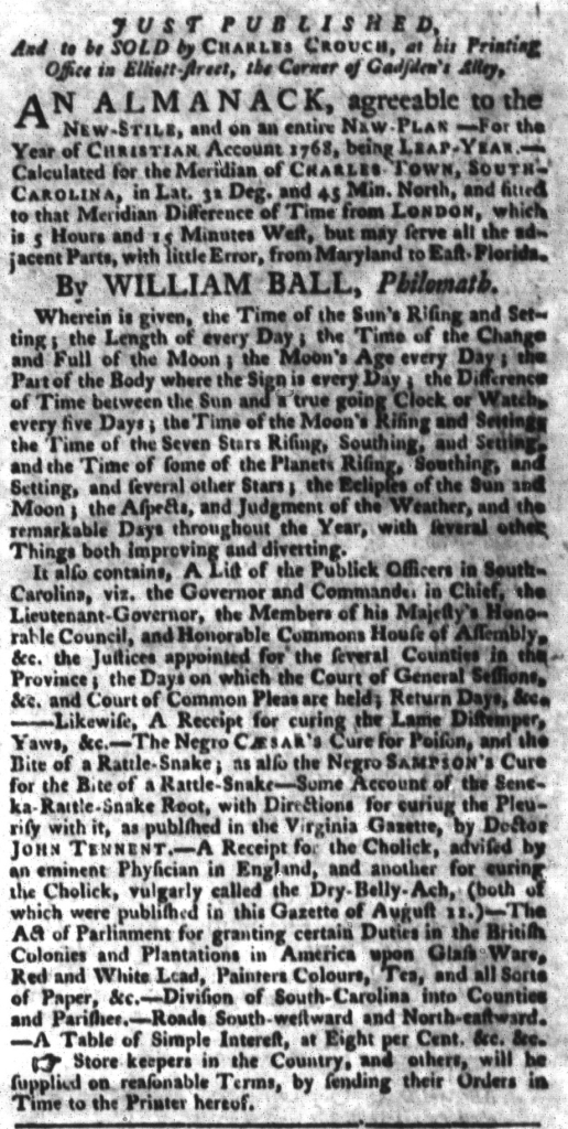 Feb 2 - South-Carolina Gazette and Country Journal Supplement Slavery 3