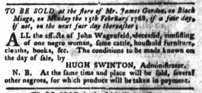 Feb 2 - South-Carolina Gazette and Country Journal Supplement Slavery 4