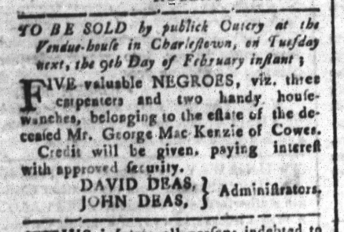 Feb 5 - South-Carolina and American General Gazette Slavery 6