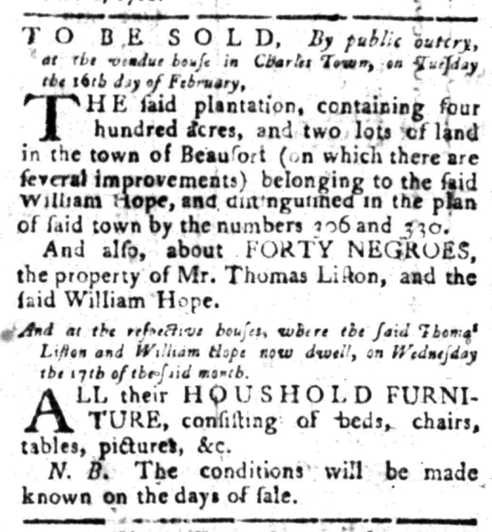 Feb 8 - South Carolina Gazette Slavery 1