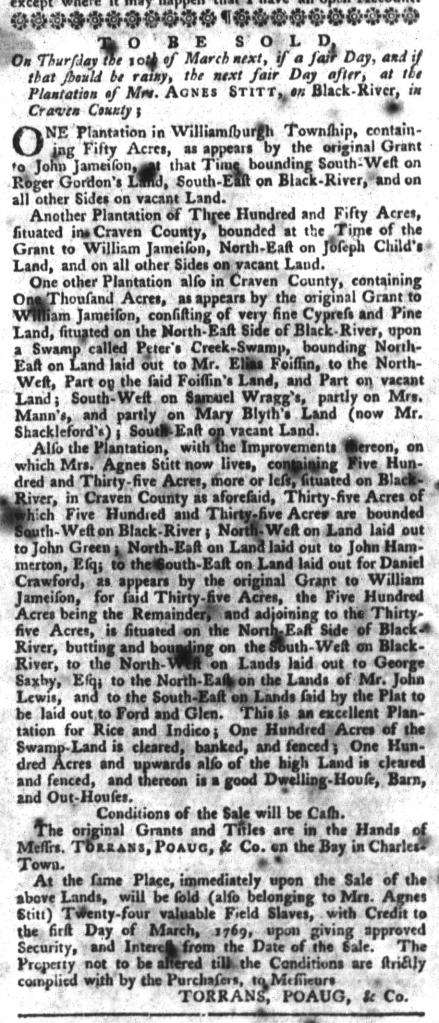 Feb 9 - South-Carolina Gazette and Country Journal Slavery 1