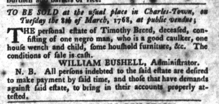 Feb 9 - South-Carolina Gazette and Country Journal Slavery 4