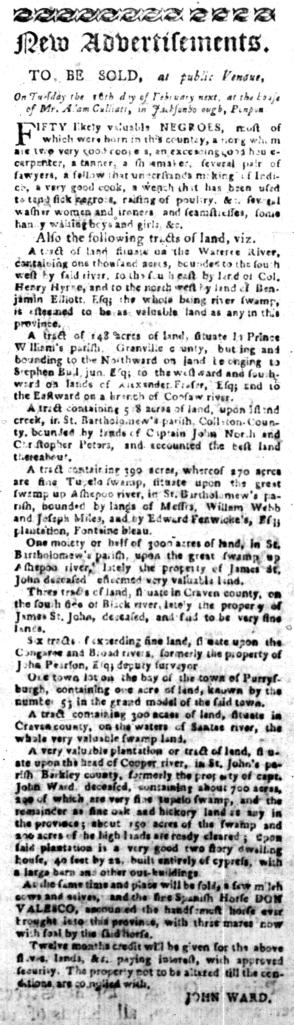Jan 11 - South Carolina Gazette Slavery 1