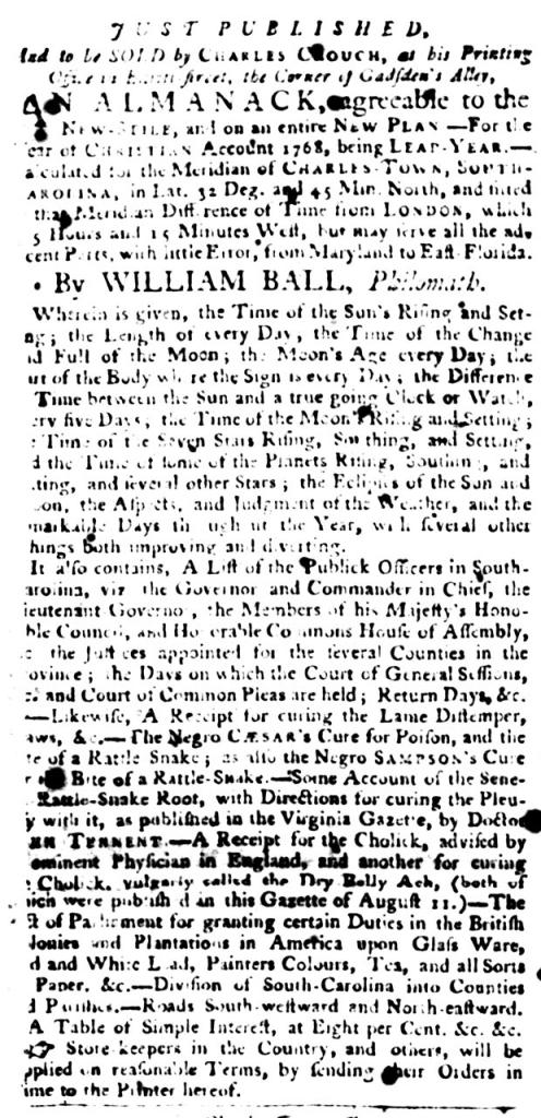 Jan 12 - South-Carolina Gazette and Country Journal Slavery 1