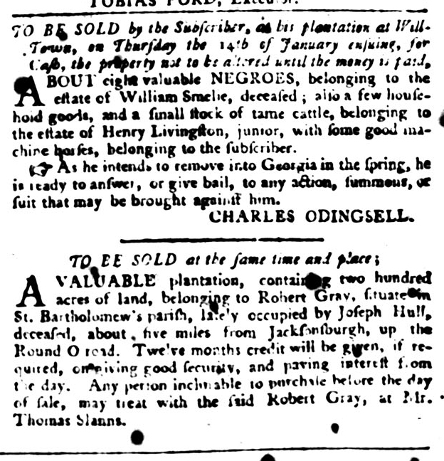 Jan 12 - South-Carolina Gazette and Country Journal Slavery 10