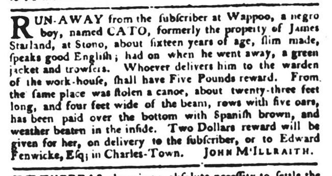 Jan 12 - South-Carolina Gazette and Country Journal Supplement Slavery 1