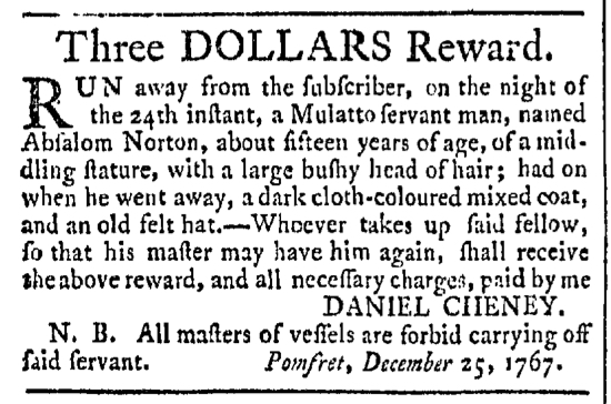 Jan 16 - Providence Gazette Slavery 1