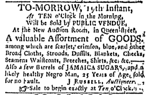 Jan 18 - Boston Evening-Post Slavery 1
