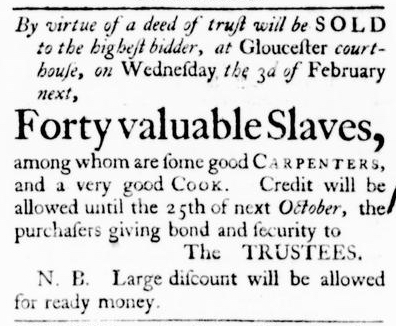 Jan 21 - Virginia Gazette Purdie and Dixon Slavery 1