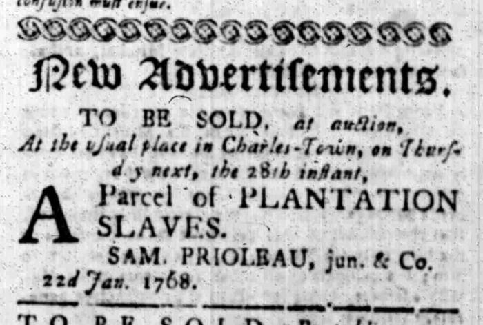 Jan 25 - South Carolina Gazette Slavery 1