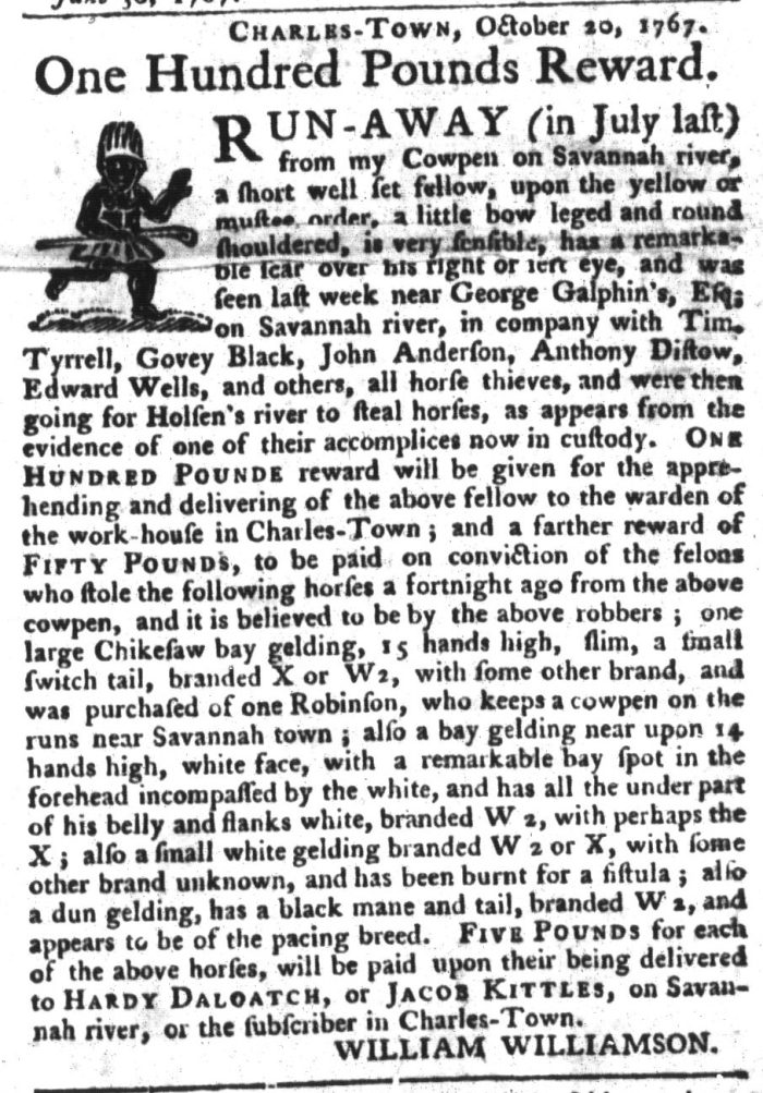 Jan 26 - South-Carolina Gazette and Country Journal Slavery 17