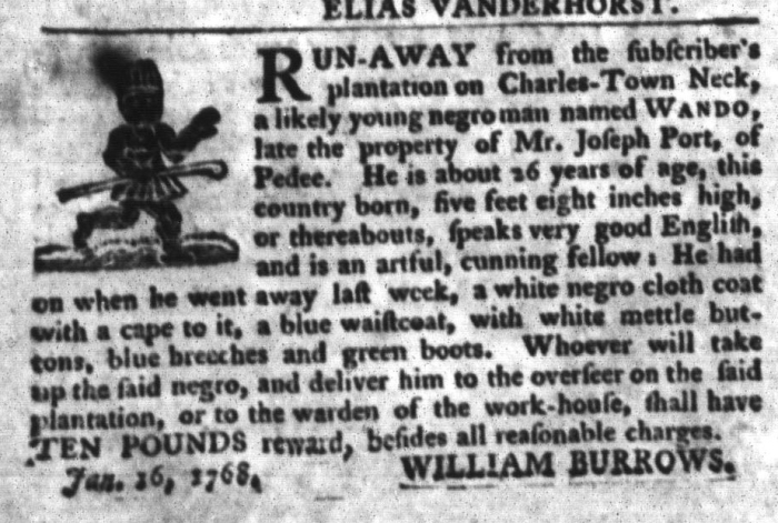 Jan 26 - South-Carolina Gazette and Country Journal Slavery 9