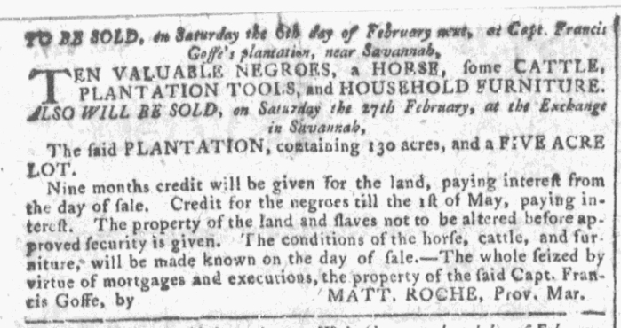 Jan 27 - Georgia Gazette Slavery 1