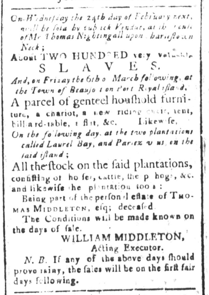 Jan 29 - South-Carolina and American General Gazette Slavery 4