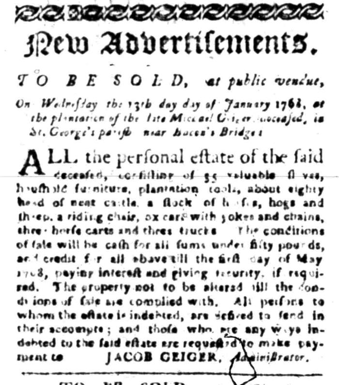 Jan 4 - South Carolina Gazette Slavery 1