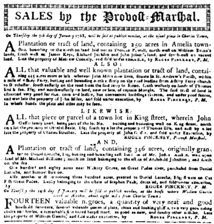 Jan 4 - South Carolina Gazette Slavery 3