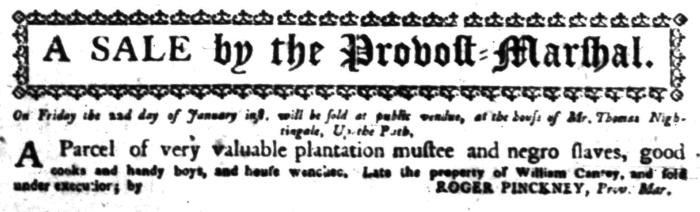 Jan 4 - South Carolina Gazette Slavery 6