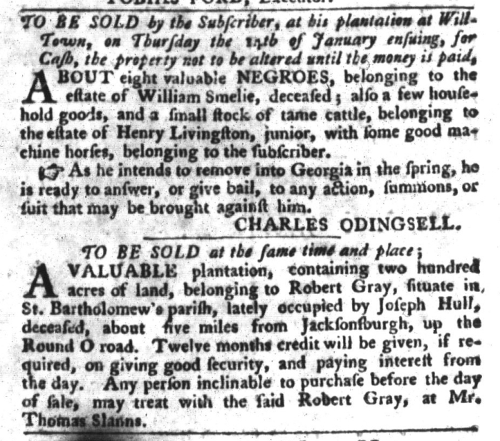 Jan 5 - South-Carolina Gazette and Country Journal Slavery 12