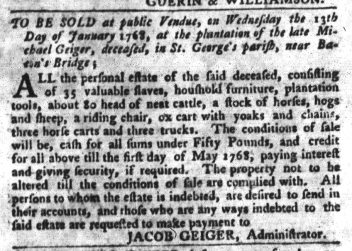 Jan 5 - South-Carolina Gazette and Country Journal Slavery 9