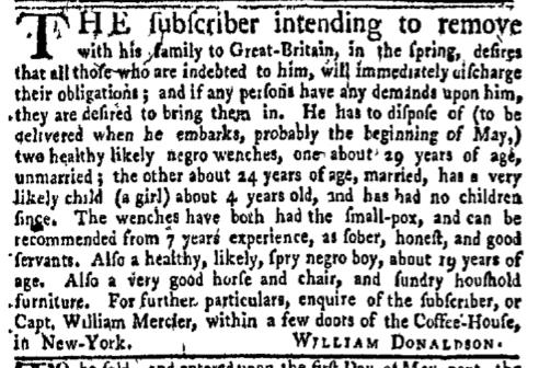 Feb 11 - New-York Gazette Weekly Mercury Extraordinary Slavery 1