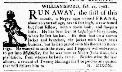 Feb 11 - Virginia Gazette Purdie and Dixon Slavery 4