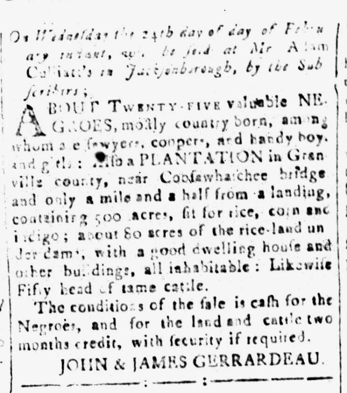 Feb 12 - South-Carolina and American General Gazette Slavery 12