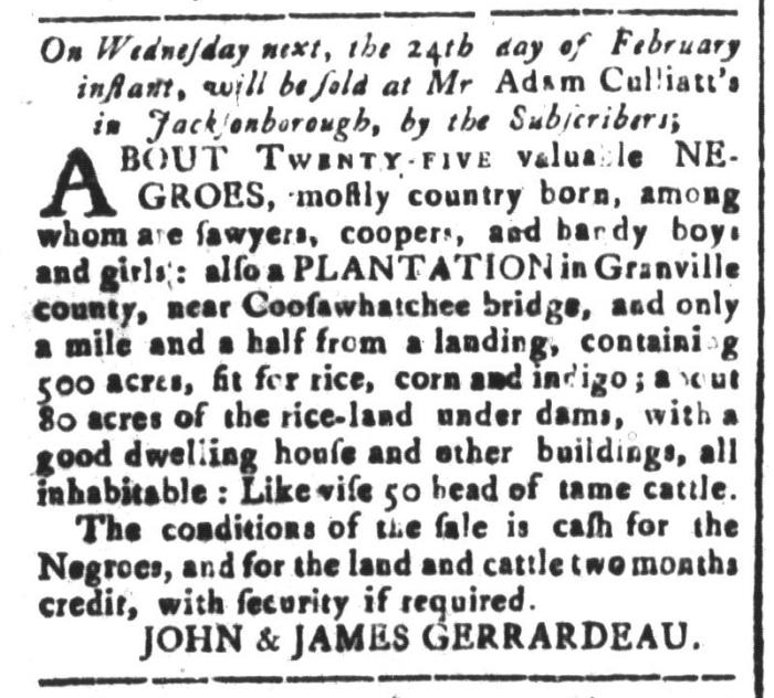 Feb 19 - South-Carolina and American General Gazette Slavery 4