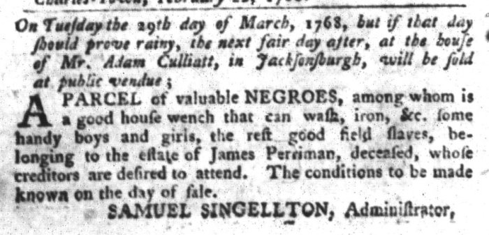 Feb 23 - South-Carolina Gazette and Country Journal Slavery 1