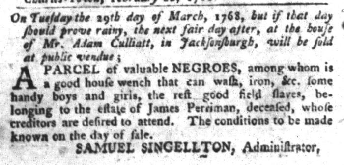 Feb 23 - South-Carolina Gazette and Country Journal Slavery 1
