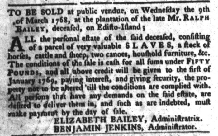 Feb 23 - South-Carolina Gazette and Country Journal Slavery 11
