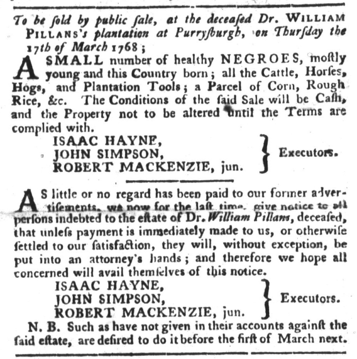 Feb 23 - South-Carolina Gazette and Country Journal Slavery 15