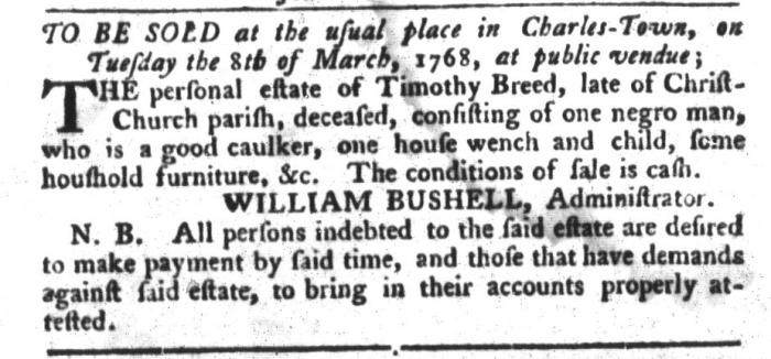 Feb 23 - South-Carolina Gazette and Country Journal Slavery 16